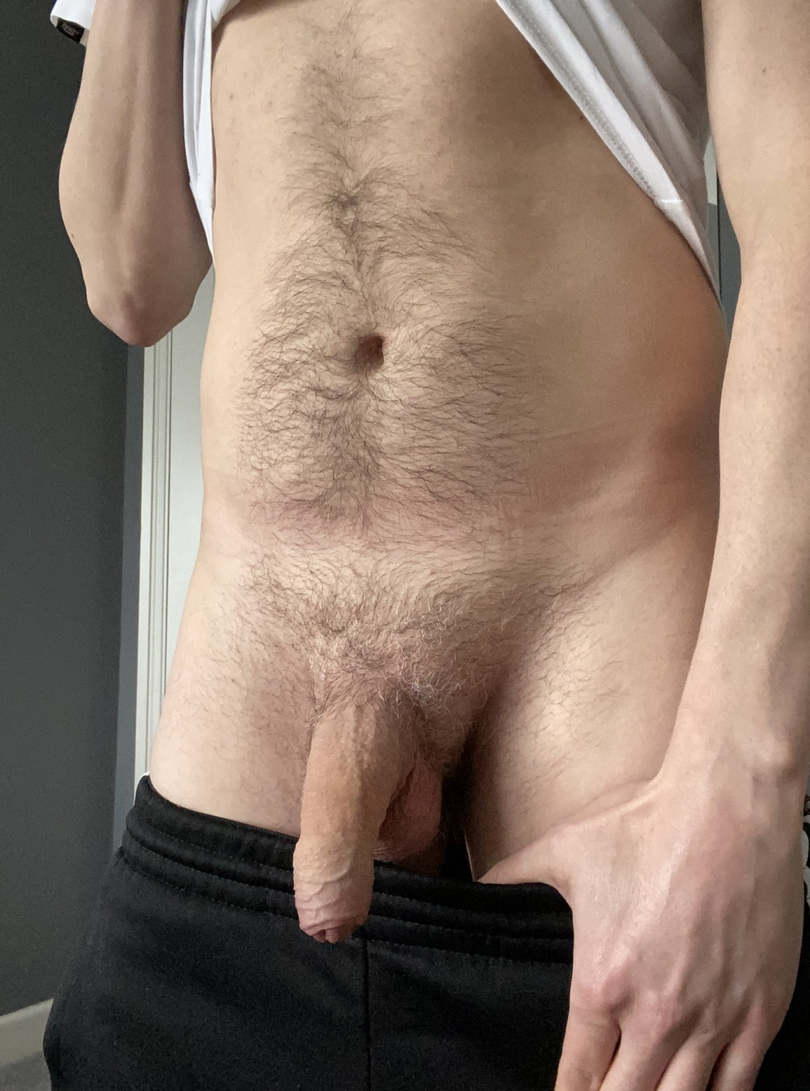 Hairy tummy and soft cock