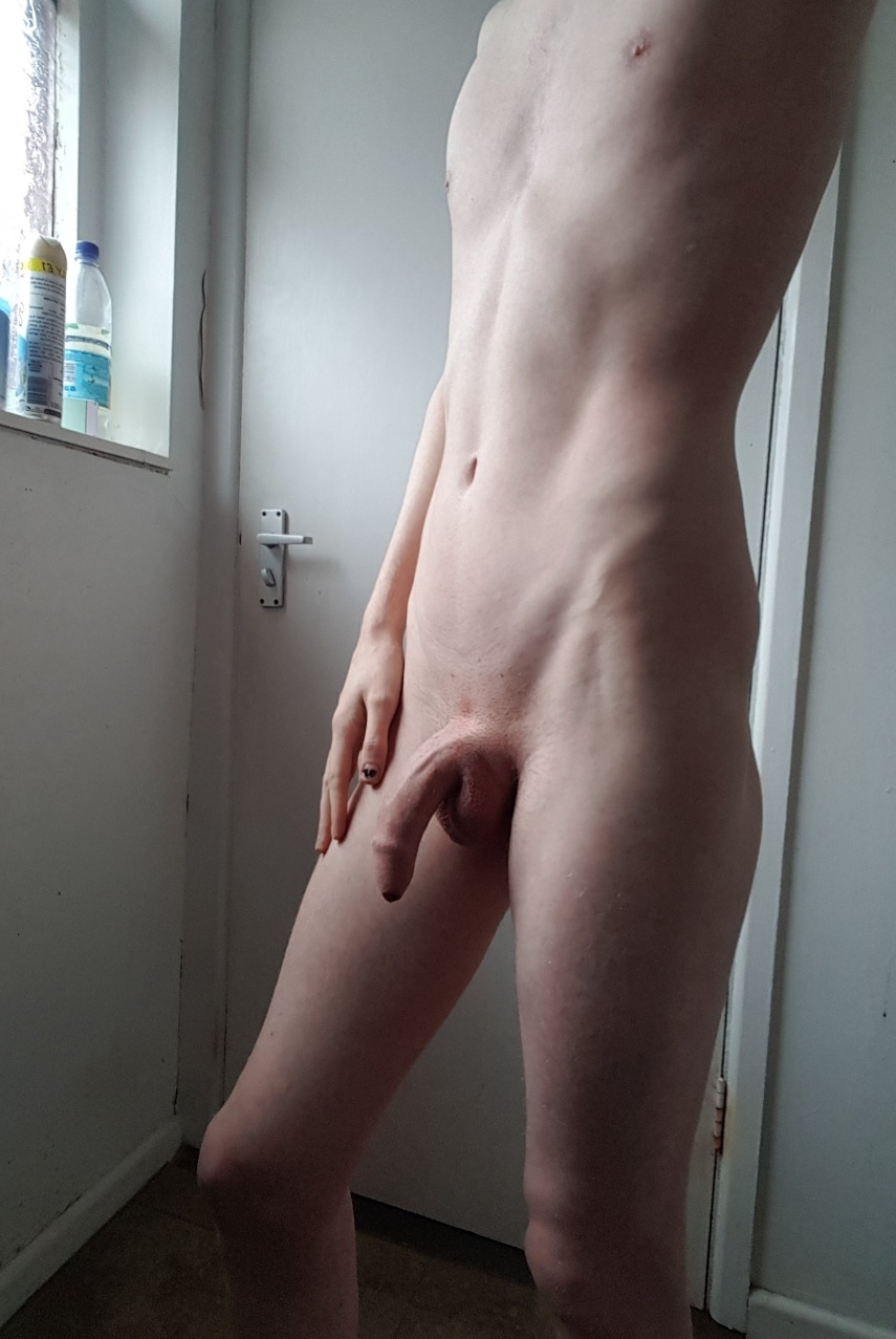 Nude twink with soft dick